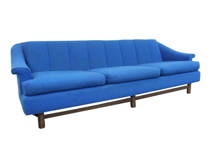 Mid-Century Modern Blue 3-Seater Sofa on Wood Base, Danish Modern Couch