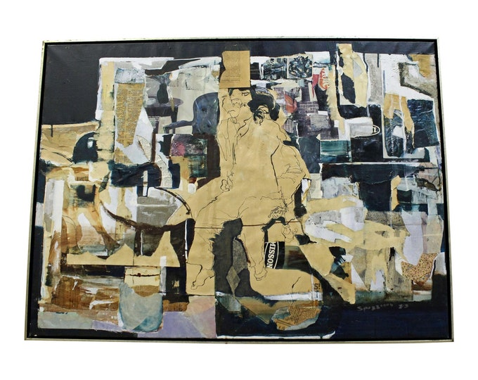 Large Vintage Abstract Collage Art on Canvas by Spizzirri
