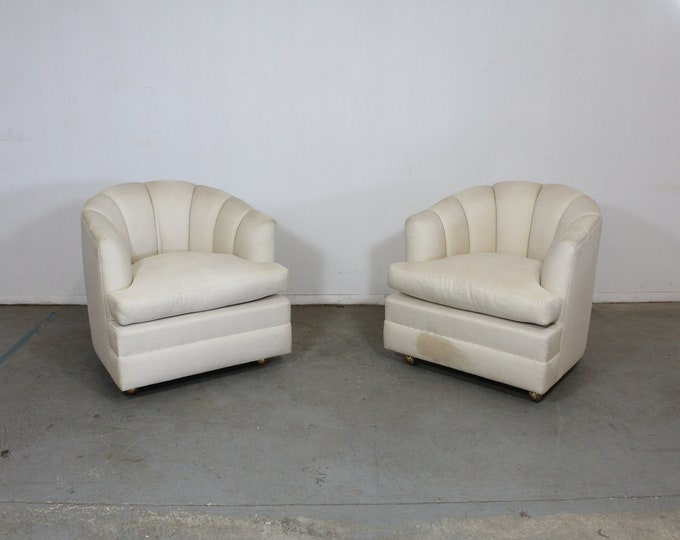 Pair of Mid-Century Modern Barrel Back Club Chairs on Casters