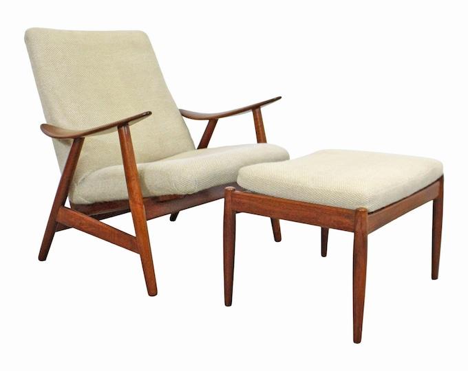Mid-Century Modern Danish Modern Teak Lounge Chair & Ottoman