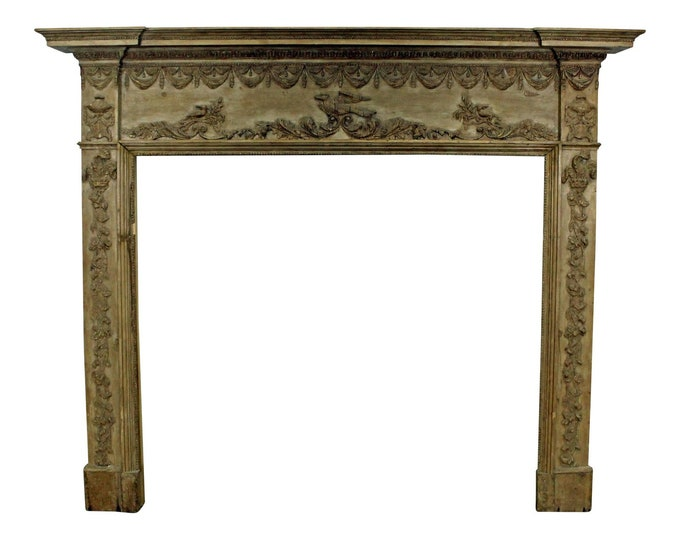 Antique Fireplace Mantel  Carved French Country