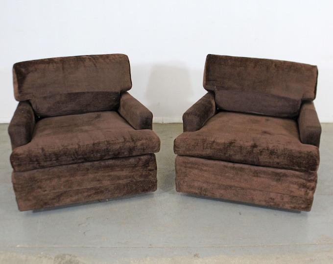 Pair of Vintage Mid-Century Modern Milo Baughman Style Lounge Club Chairs