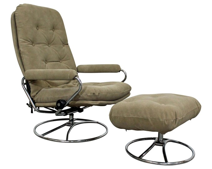 Mid-Century Lounge Chair, Scandinavian Modern Ekornes Stressless Chrome Chair & Ottoman