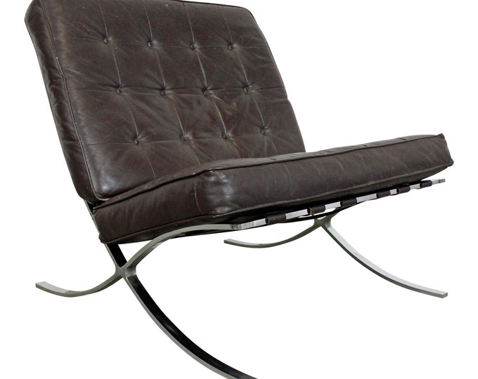 Mid-Century Modern Barcelona Style Chrome Lounge Chair