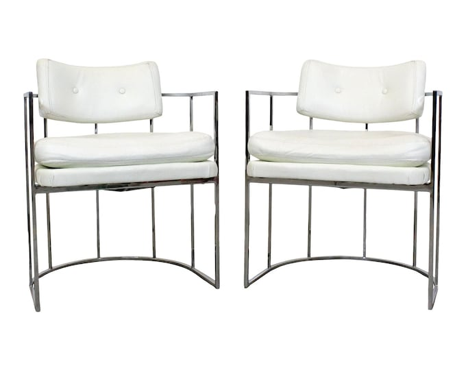Milo Baughman Dining Chairs for Thayer Coggin, Mid-Century Modern Pair of Arm Chairs, Chrome Chairs, Lounge Chairs