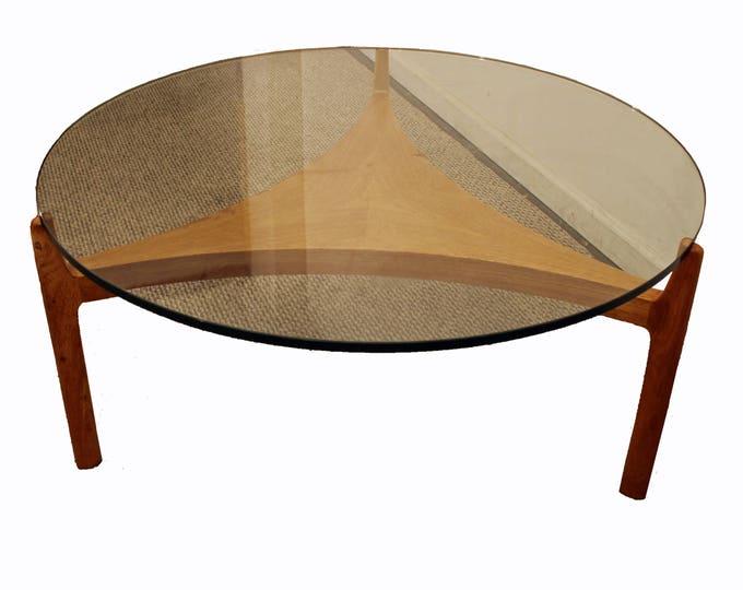 Mid-Century Coffee Seth Ellekaer Danish ModernReverse Teak Trefoil Glass Top Table