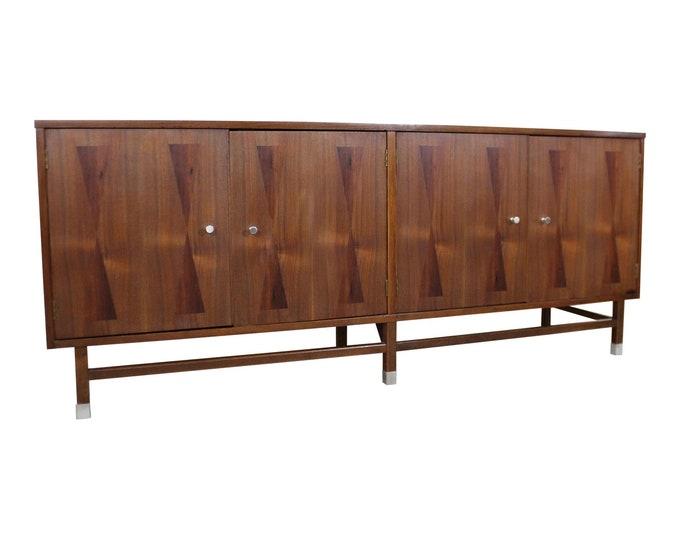 Mid-Century Danish Modern 4-Door Parquet Walnut Bow Tie Credenza Sideboard by Stanley