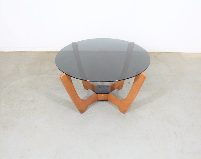 Mid Century Danish Modern Odd Knutsen Glass Top Coffee Table