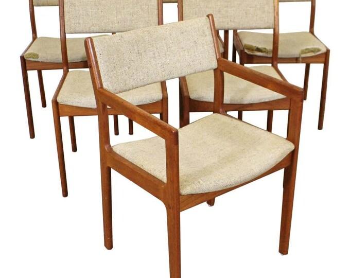 Set of 6 Vintage Danish Modern Mid-Century Modern Teak Dining Chairs