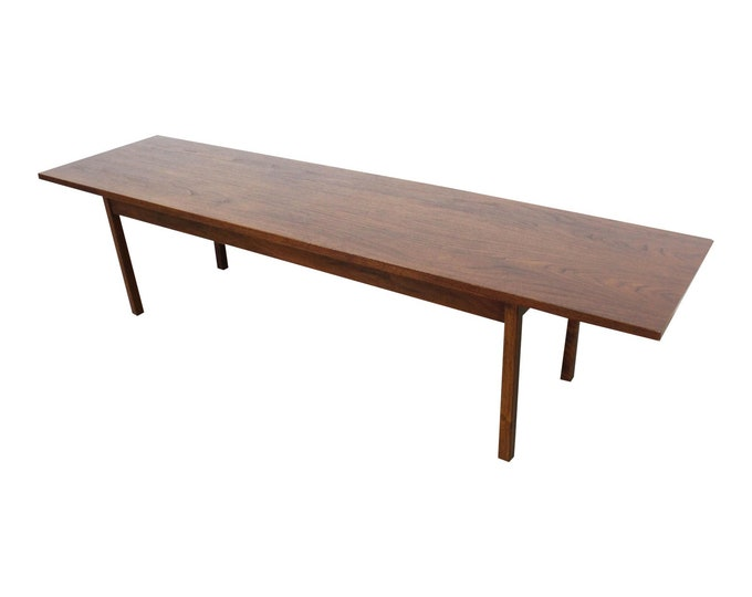 "Mid-Century Modern Coffee Table, 72"" Elongated Walnut Coffee Table, Danish Modern MCM"