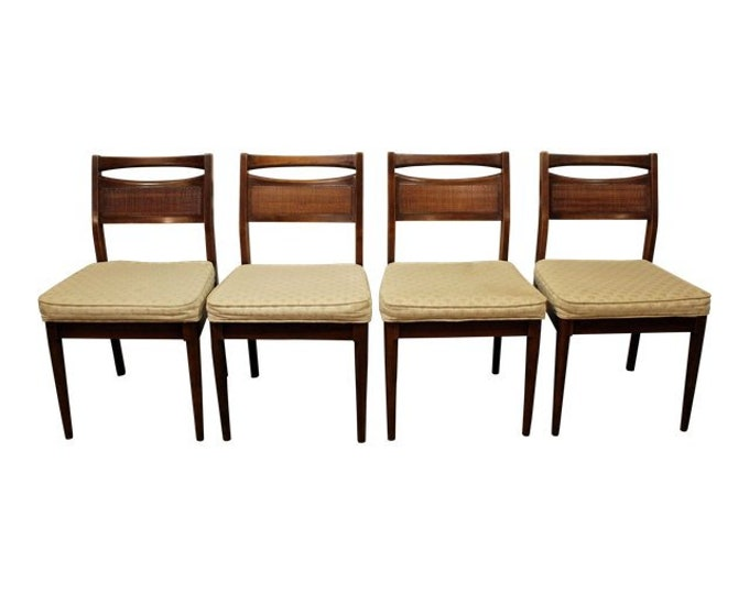 Mid-Century Dining Chairs 4 by American of Martinsville Caned Walnut