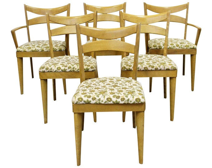 Heywood Wakefield Set of 6 Mid-Century Modern Wheat Bow Tie Dining Chairs 953
