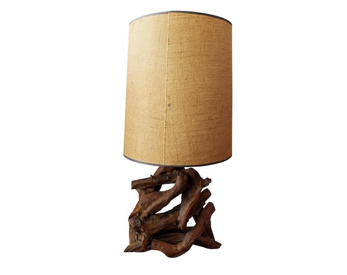 Mid-Century Lamp Danish Modern Lighting Free Form Driftwood Table Lamp