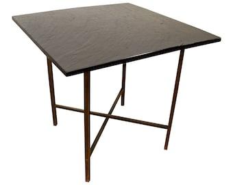 Mid-Century Danish Modern Paul McCobb Style Slate Top Brass End Table