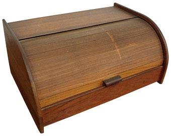 Mid-Century Danish Modern Teak Tambour Roll-Top Storage Box Cabinet