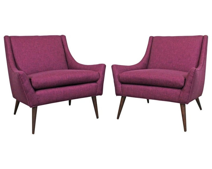 Pair of Mid-Century Danish Modern Paul McCobb Style Lounge/Club Chairs