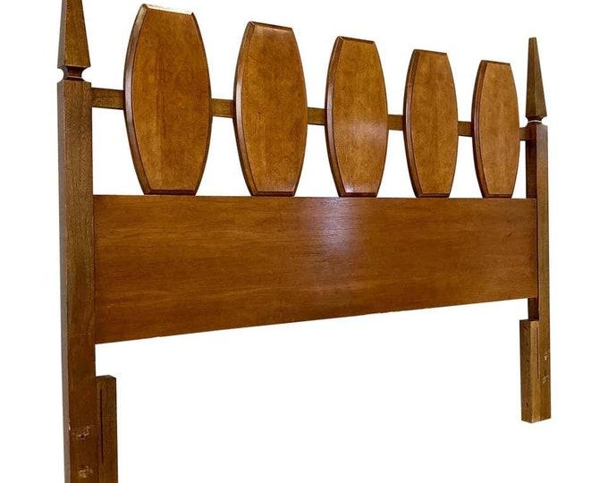 Vintage Mid-Century Modern Walnut Burl Full Size Bed Headboard