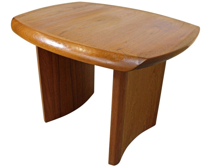 Mid-Century Side Table, Danish Modern, Sculpted Teak Side/End Table w/ Curved Legs