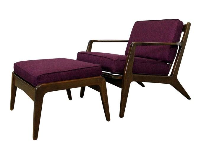 Danish Modern Lounge Chair & Ottoman by IB Kofod Larsen ,Mid-Century Walnut