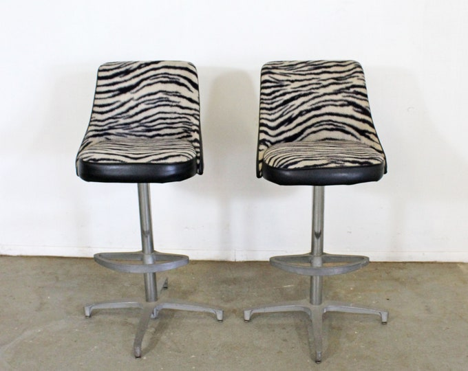 Pair of Mid Century Danish Modern Chromcraft Zebra Print Swivel Bar Stools