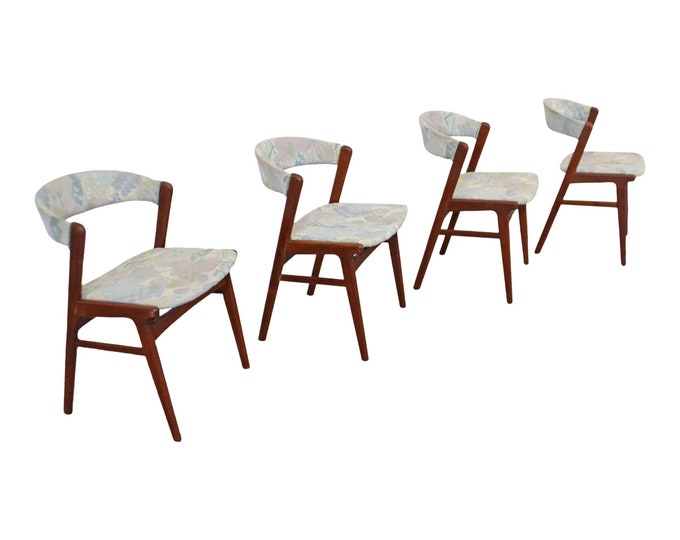 Set of 4 Mid-Century Danish Modern Kai Kristensen Style Teak Side Dining Chairs