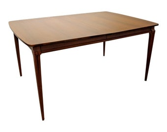 Mid Century Danish Modern Walnut Extendable Dining Table