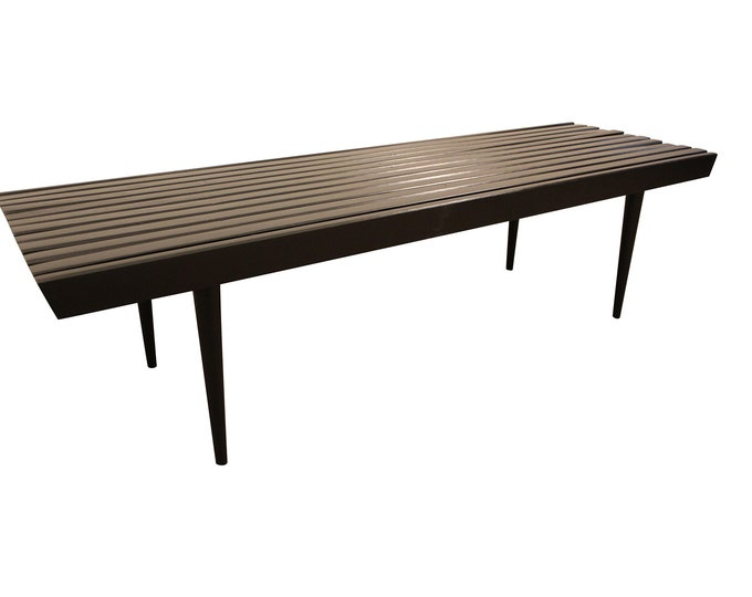 Mid-Century Slat Bench Coffee Table , Ebonized Walnut #7