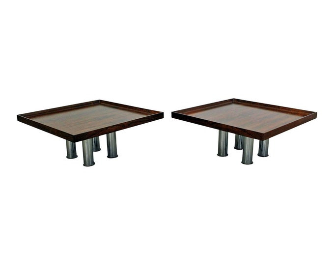 Pair of Mid-Century Danish Modern Knoll Rosewood Chrome Coffee/End Tables