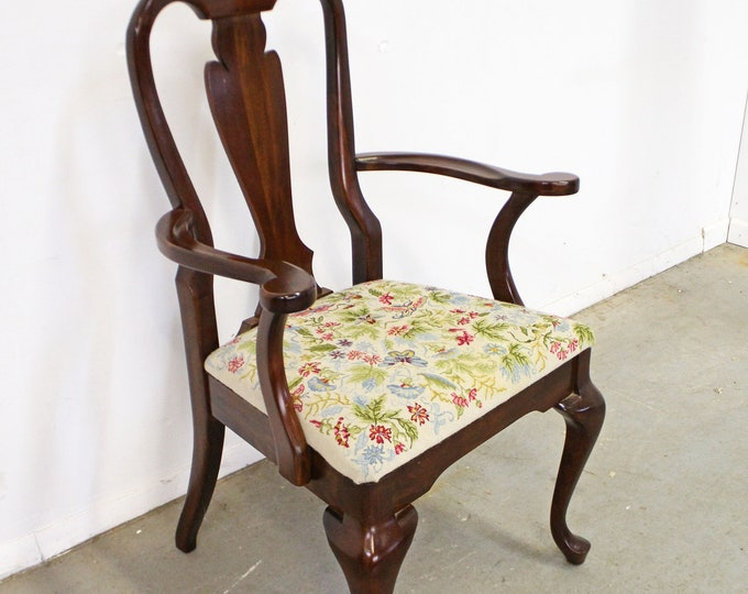 Vintage Queen Anne Cherry Floral Dining Arm Chair