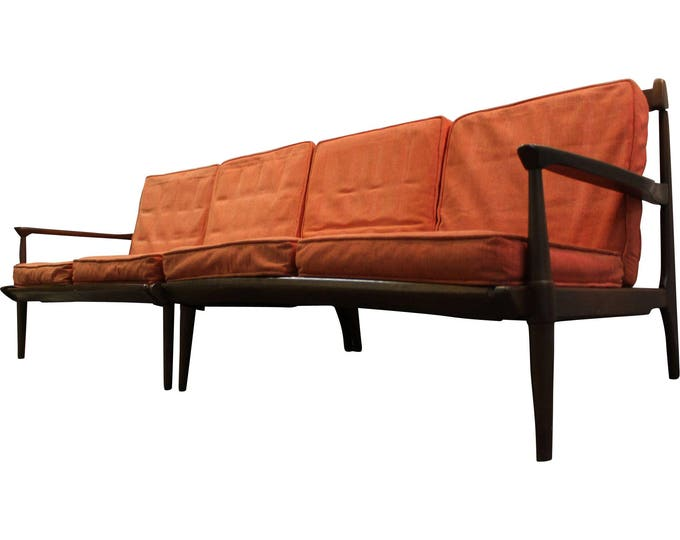 Mid-Century Sofa Danish Modern Walnut Two Piece Sectional on Spindle Legs