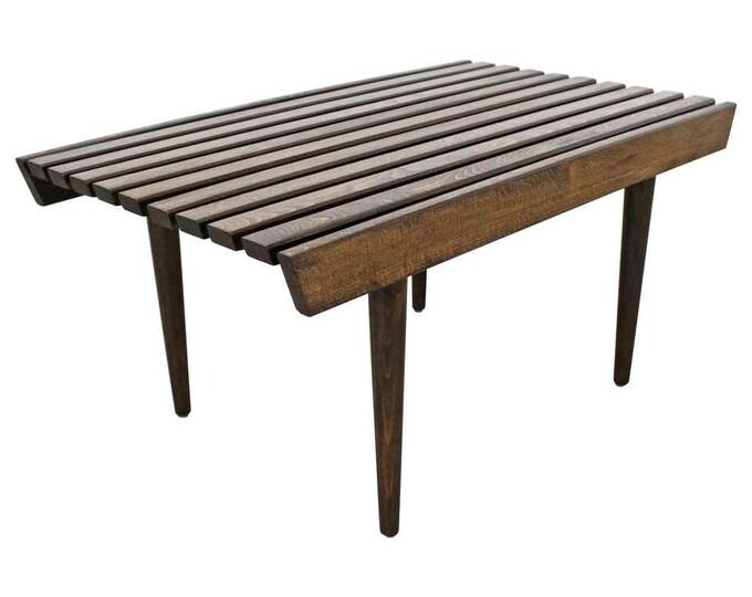 Mid-Century Danish Modern Walnut Slat Bench End/Side Table
