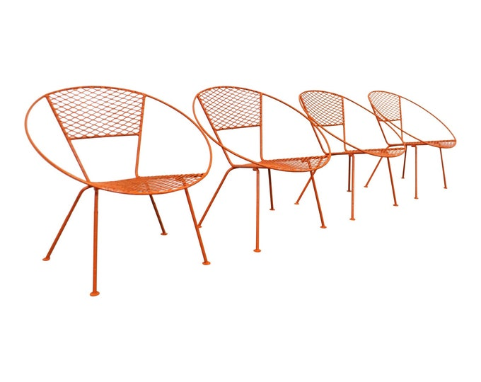 Set of 4 Mid-Century Modern Atomic Salterini Style Metal Outdoor Circle Hoop Chairs