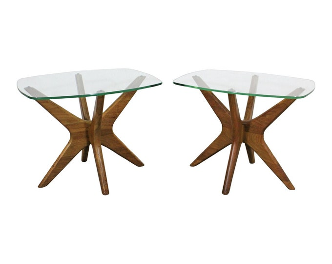 Mid-Century Danish Modern Adrian Pearsall 'Jacks' Glass Top End Tables