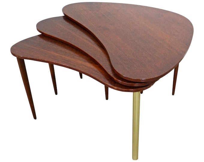Mid-Century Danish Modern Teak Boomerang Jackknife Coffee / Accent Tables / Nest Tables - Set of 3