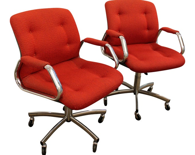 Mid-Century Office Chairs  Red Chrome by Steelcase on Wheels