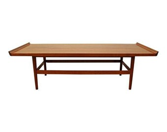 Mid-Century Coffee Table Danish Modern Flared Edge Parquet Top Coffee Table