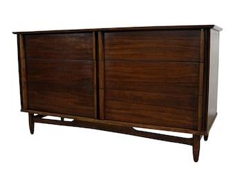 Mid-Century Credenza/Dresser Walnut 6-Drawer  Danish Modern