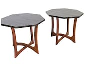 Pair of Mid-Century Modern Sculptural Slate Top Walnut End Tables