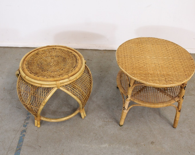 Pair of Mid Century Modern Rattan End Tables