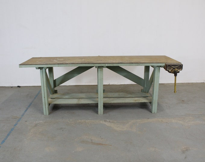 "Vintage Workbench 96"" with Vise"