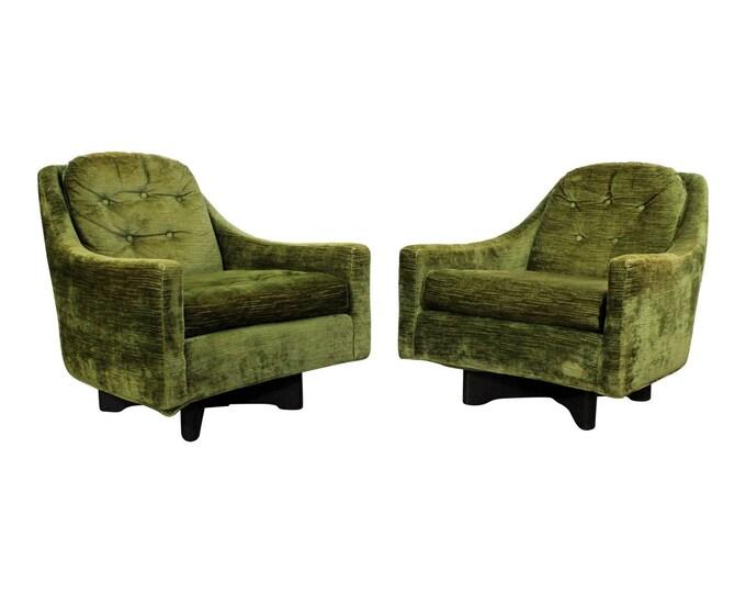 Mid-Century Chairs, Danish Modern, Adrian Pearsall Style, Swivel Lounge Chairs