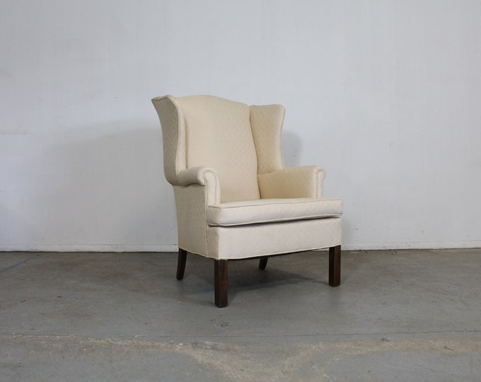 Mid-Century Modern Chippendale Straight Leg Wing Back Chair