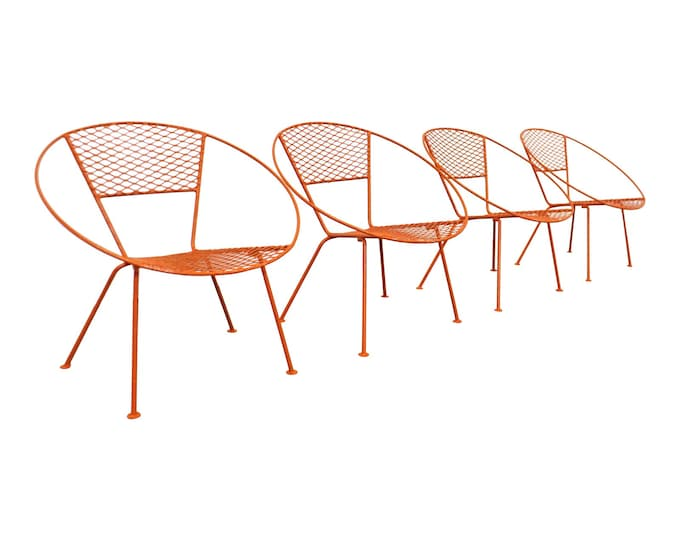 Vintage Mid-Century Modern Atomic Cicchelli Style Outdoor Circle Hoop Chair Set - SET OF 4 - Vintage Patio Furniture