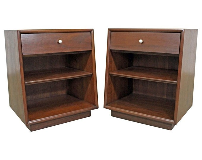 Vintage Mid-Century Modern/Danish Modern Kipp Stewart Drexel Declaration Walnut Porcelain Nightstands Side Tables