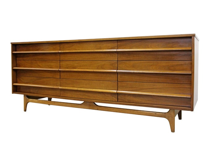 Mid-Century Modern Vintage Credenza Concave Front Walnut Dresser by Young Mfg. Co.