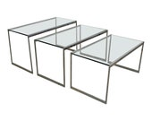 Set of 3 Mid-Century Modern Chrome Glass Top Nesting Tables SideTables