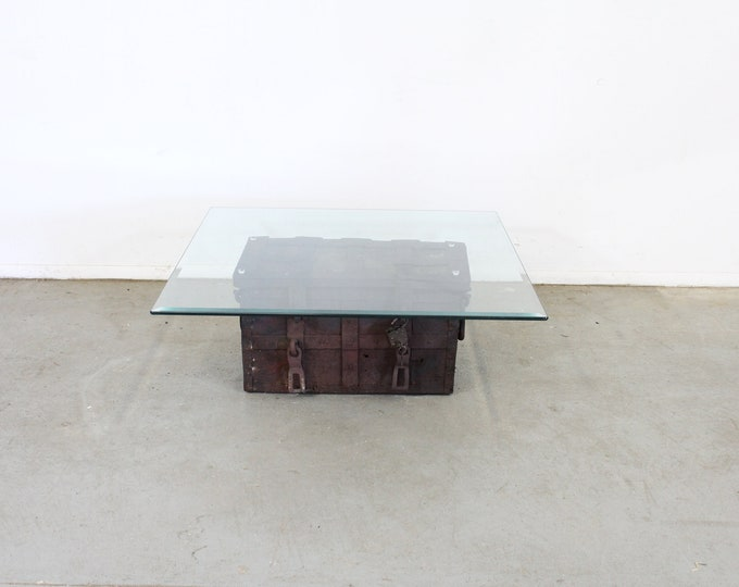 Antique Iron Strongbox/Treasure Chest/Designer Coffee Table
