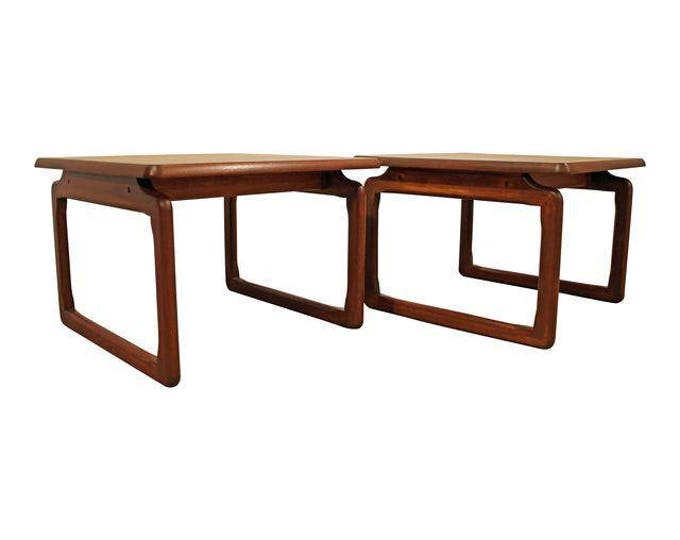 Mid-Century End Tables Danish Modern Tarm Stole Teak Free Space Side/End Tables-PAIR