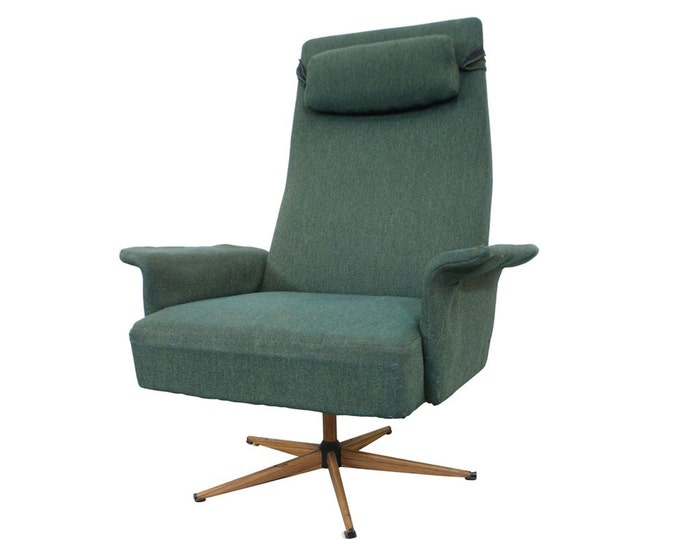 Mid-Century Danish Modern High Back Swivel Rocker Lounge Chair