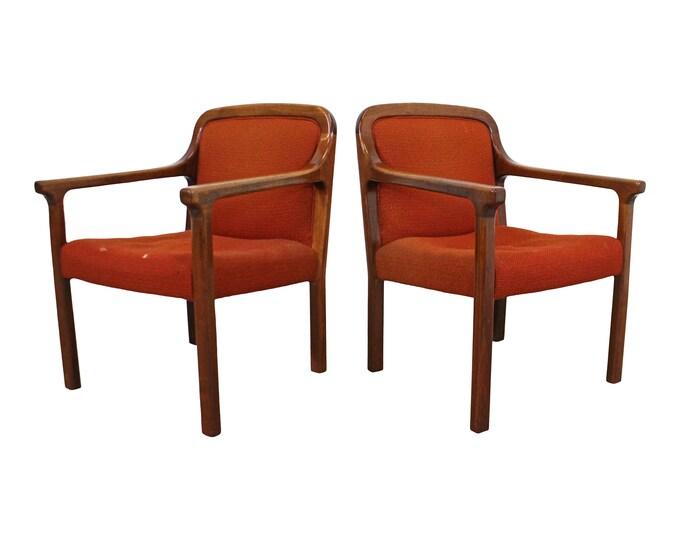 Pair of Vintage Mid-Century Modern Helikon Walnut Arm Chairs